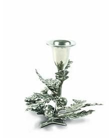 Pewter Metal Oak Leaf Candlestick Holder