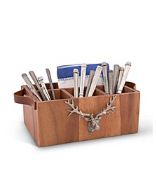Caddy Rectangle Acacia Wood Flatware, Serve Ware, Utensil, Carry-All Holder with Solid Pewter Rustic Elk Head Accent and Real Leather Handles