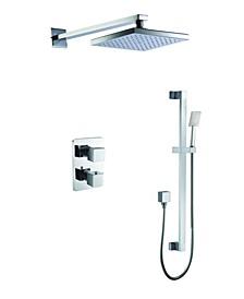 Polished Chrome 2 Way Thermostatic Square Shower Set