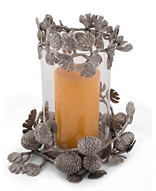 Pewter Pine Cones Pillar Candlestick Pillar Hurricane Centerpiece Holder
