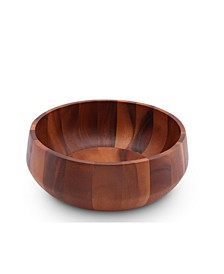 Acacia Wood Serving Bowl for Fruits or Salads Modern Round Shape Style Large Wooden Single Bowl