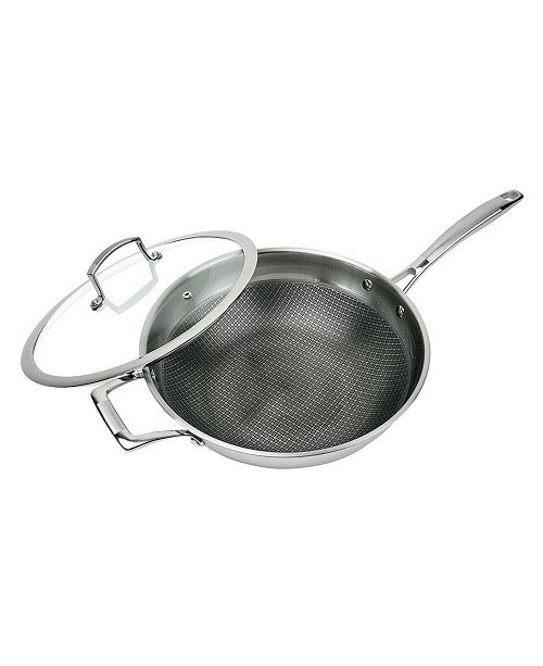 """MasterPan 3-Ply Stainless Steel Premium ILAG Non-Stick Scratch-Resistant Wok, 11"""""""
