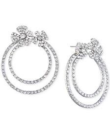 Silver-Tone Pavé Flower Double-Hoop Drop Earrings