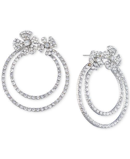 Jenny Packham Silver-Tone Pavé Flower Double-Hoop Drop Earrings