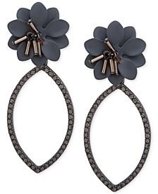 Hematite-Tone Crystal & Imitation Pearl Flower Open Drop Earrings
