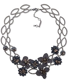 "Hematite-Tone Crystal & Imitation Pearl Flower Statement Necklace, 16"" + 4"" extender"