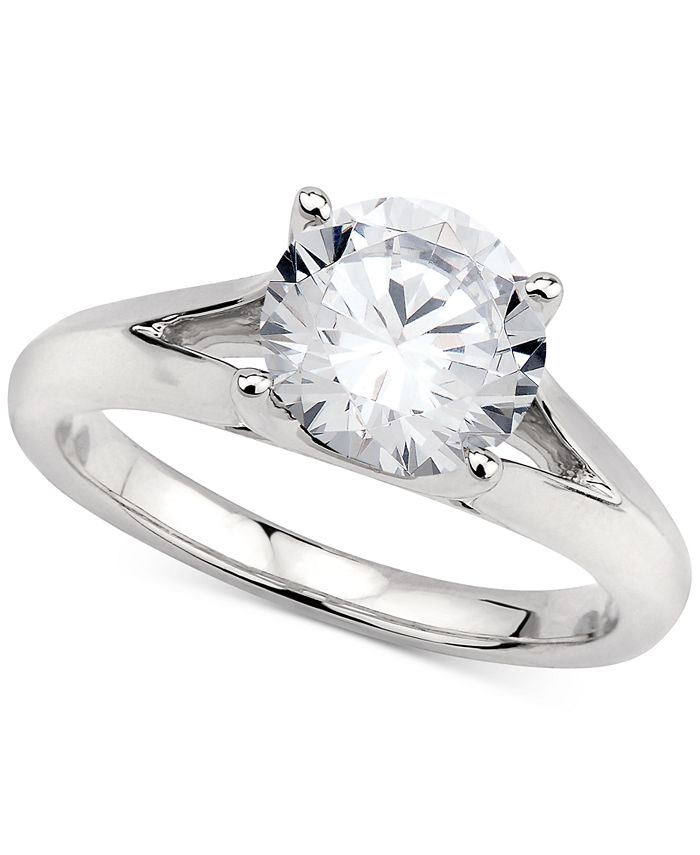GIA Certified Diamonds - Certified Diamond Solitaire Engagement Ring (2 ct. t.w.) in 14k White Gold