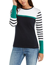 Striped Long-Sleeve Cotton T-Shirt, Created For Macy's
