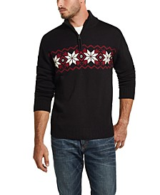 Men's Snowflake Quarter-Zip Sweater