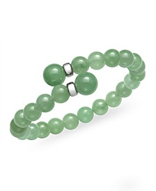 Green Jade (16 mm) Wrap Open Bangle Bracelet in Sterling Silver