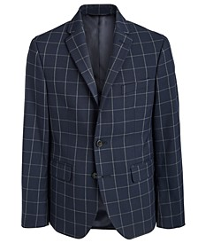 Big Boys Classic-Fit Stretch Navy Blue Windowpane Sport Coat