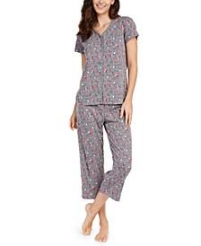 Printed Short-Sleeve Top & Capri Pajama Pants Set, Created For Macy's