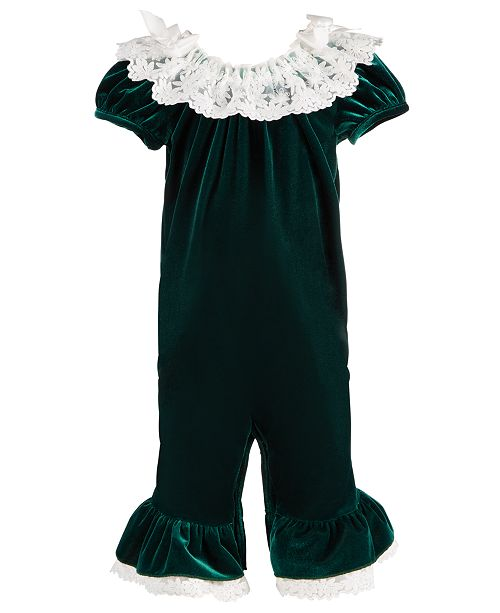 Bonnie Baby Baby Girls Lace-Trim Stretch Velvet Coverall