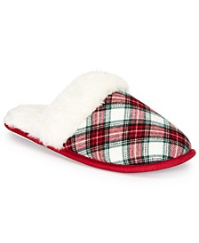 Women's Stewart Plaid Scuff Slippers, Created For Macy's