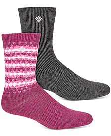 Women's 2-Pk. Texture Wool-Blend Crew Socks