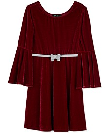 Big Girls Velvet Bell-Sleeve Skater Dress