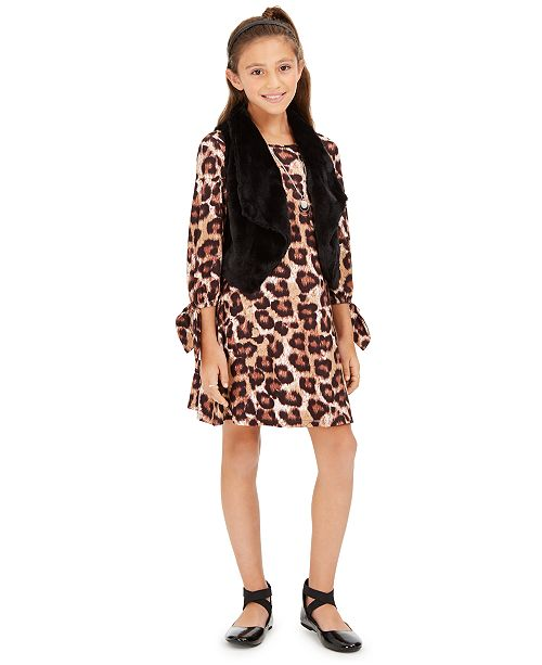Sequin Hearts Big Girls 3-Pc. Faux-Fur Vest, Leopard-Print Dress & Necklace Set