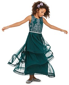 Big Girls Beaded Crinoline-Trim Dress
