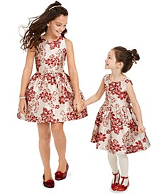 Little, Toddler & Big Girls Floral Brocade Dress
