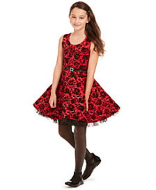 Beautees Big Girls 2-Pc. Belted Floral Skater Dress & Faux-Fur Jacket Set