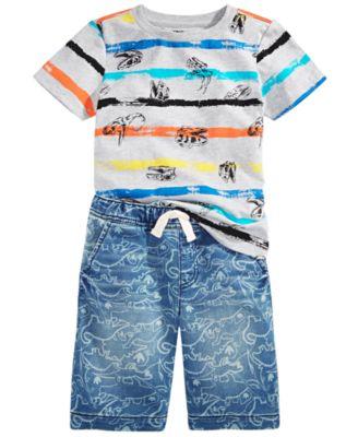 Little Boys Dino Stripe T-Shirt, Created For Macy's