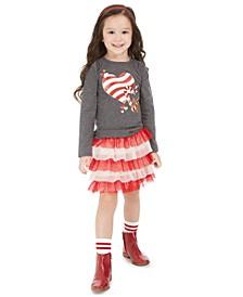 Little Girls Heart T-Shirt & Tulle Skirt, Created For Macy's