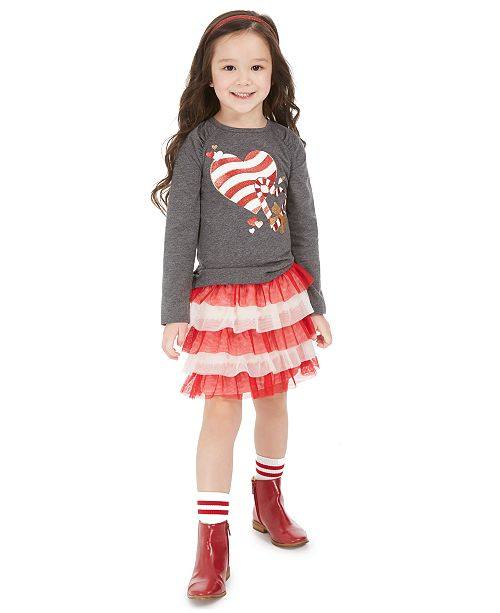 Epic Threads Toddler Girls Heart T-Shirt & Tulle Skirt, Created For Macy's