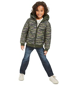 Little Boys Camouflage Reversible Water-Resistant Hooded Puffer Jacket, Dino Thermal T-Shirt & Slim-Straight Fit Jeans, Created For Macy's