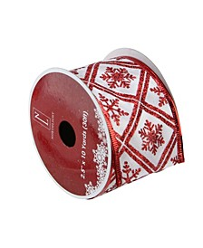 """Pack of 12 White and Red Snowflake Wired Christmas Craft Ribbon Spools - 2.5"""" x 120 Yards Total"""