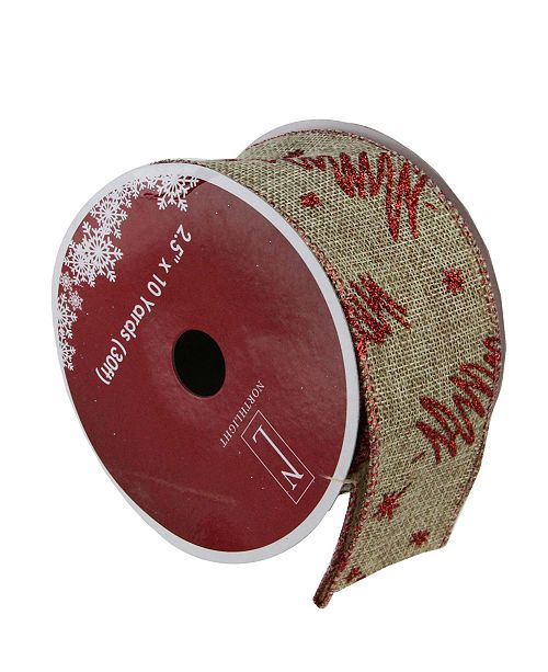 """Northlight Pack of 12 Red Tree and Beige Burlap Wired Christmas Craft Ribbon Spools - 2.5"""" x 120 Yards Total"""