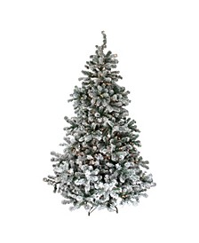 6.5' Pre-Lit Flocked Natural Emerald Artificial Christmas Tree - Clear Lights