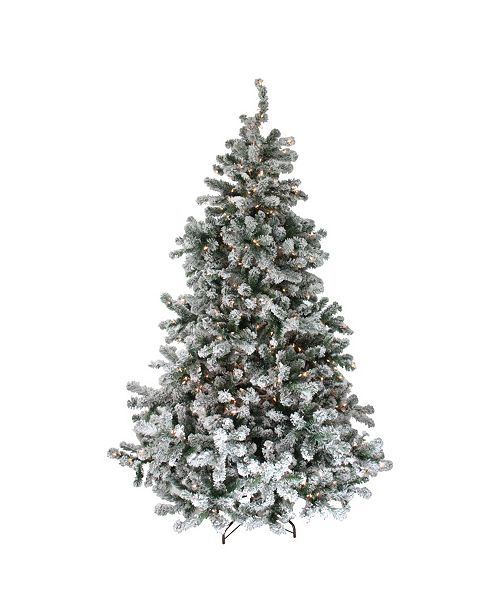 Northlight 6.5' Pre-Lit Flocked Natural Emerald Artificial Christmas Tree - Clear Lights