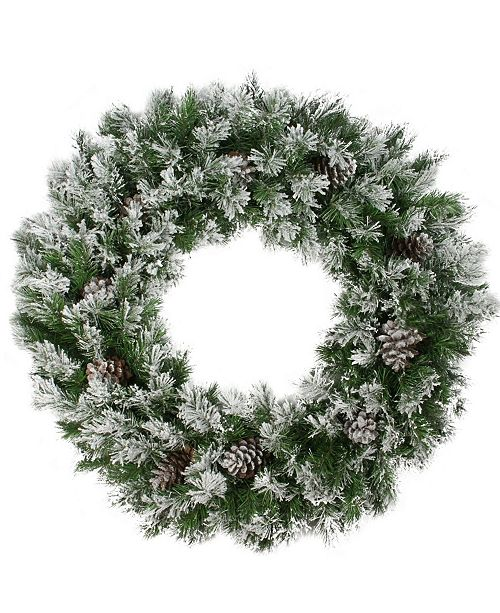 """Northlight 36"""" Flocked Angel Pine with Pine Cones Artificial Christmas Wreath"""