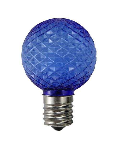 Northlight Pack of 25 Led Blue Faceted G40 Globe Christmas Replacement Light Bulbs