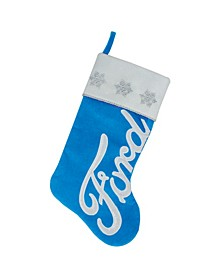 "16"" Blue and White Ford Decorative Christmas Stocking"