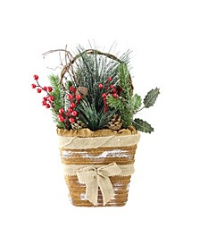 """13.5"""" Artificial Frosted Pine Needles and Pine Cones Hanging Christmas Basket Decoration"""