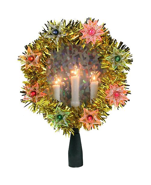 """Northlight 7"""" Gold Tinsel Wreath with Candles Christmas Tree Topper - Multi Lights"""