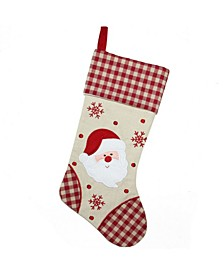 """19"""" Burlap Embroidered Santa Claus Christmas Stocking with Red Gingham Cuff"""