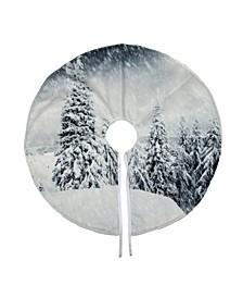 """23"""" Snowy Woodland Scene Mini Velvet Christmas Tree Skirt"""