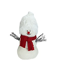 "17"" Glittered Plush White Snowman with Red Scarf Christmas Decoration"