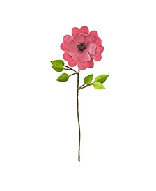 """20"""" Pink Heart Flower with Stem and Leaves Christmas Pick"""