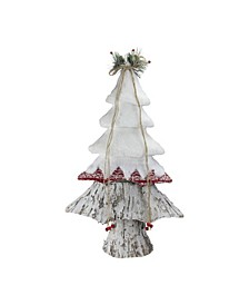 "22"" White Red and Brown Christmas Tree Decoration"