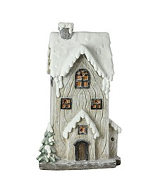 Led Lighted Battery Operated Rustic Glitte2-Story House Christmas Decoration
