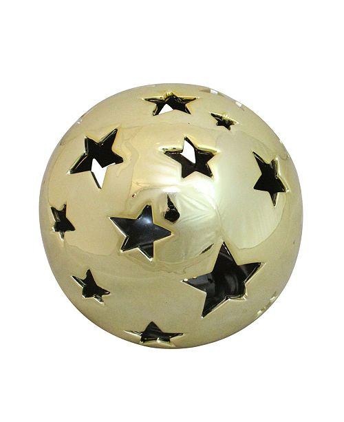 "Northlight 5.75"" Battery Operated Starry Night Shiny Gold Ceramic Ball LED Light Decoration"