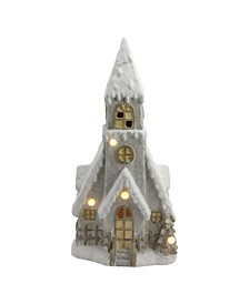 "24"" LED Lighted Musical Snowy House with Tower Christmas Decoration"