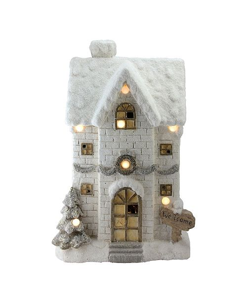 "Northlight 22.5"" LED Lighted Musical Snowy Brick House Christmas Decoration"