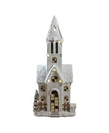 "48.5"" LED Lighted Musical Snowy Church Christmas Decoration"