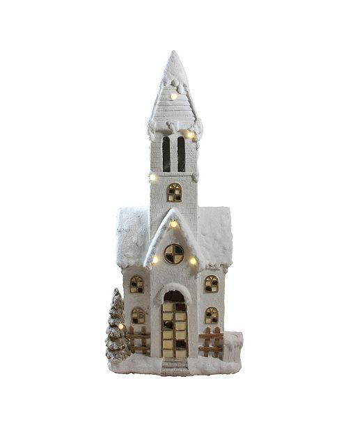 "Northlight 48.5"" LED Lighted Musical Snowy Church Christmas Decoration"