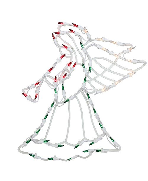 """Northlight 18"""" Lighted Red White and Green Angel Christmas Window Silhouette Decoration"""