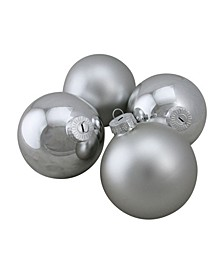 "4-Piece Shiny and Matte Silver Glass Ball Christmas Ornament Set 4"" 100mm"